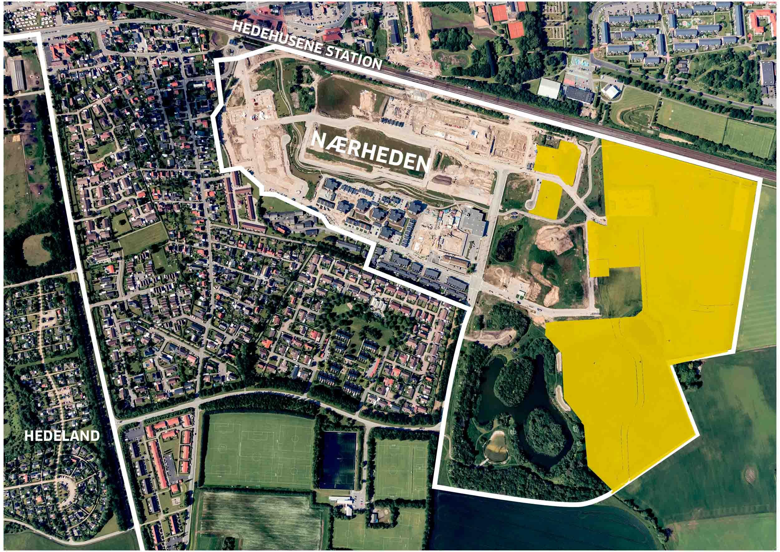Luftfoto august 2019 med gul markering af FB Gruppens køb af arealer i Nærheden